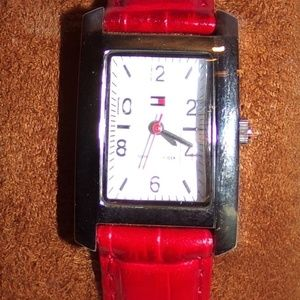 Tommy Hilfiger Croc Embossed Red Leather Watch